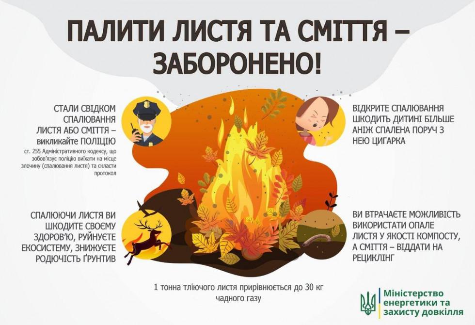 Спалювання листя може викликати захворювання на рак, – Мінекоенерго