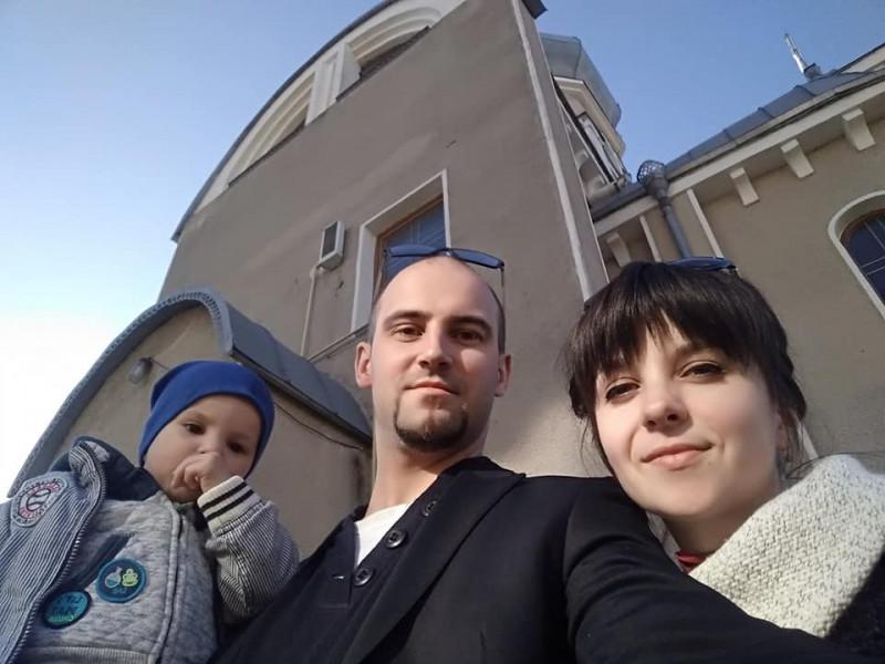 Сергій Міщук з сином та дружиною