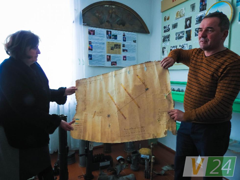 Вчителі демонструють унікальну карту Оконська 19 століття. Кажуть: гордість музею!